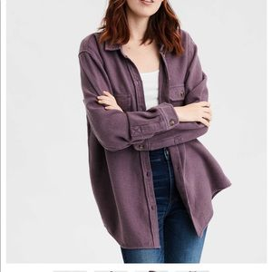 AE Pocket Button Up Long Sleeve Shirt Purple M